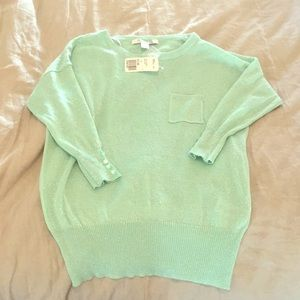 NWT mint green forever 21 sweater 3/4 sleeve small